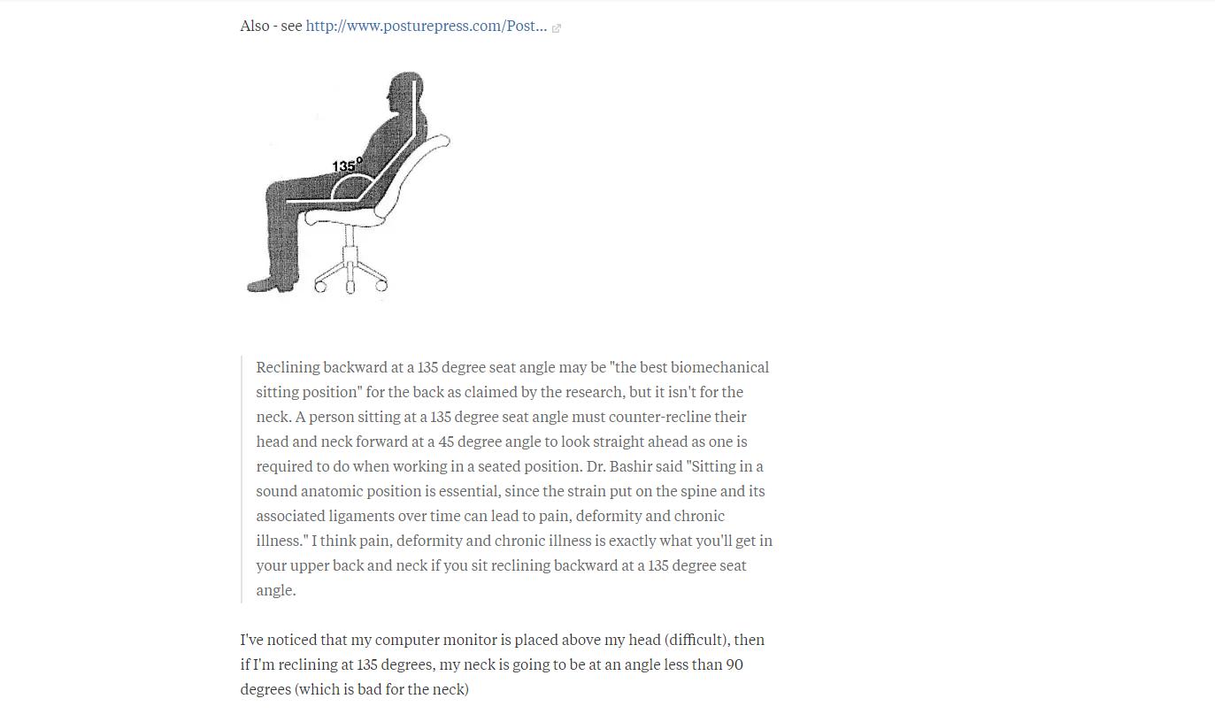 Luận chứng khoa học từ  đại học Cornell  về độ ngả của ghế