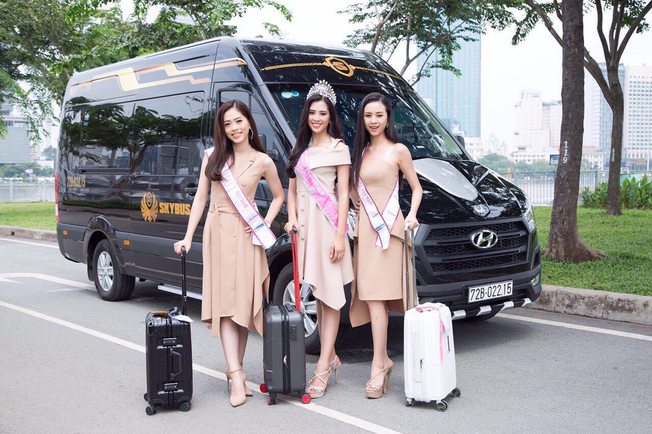 Top 3 Hoa Hậu Việt Nam 2018 và xe limousine SKYBUS